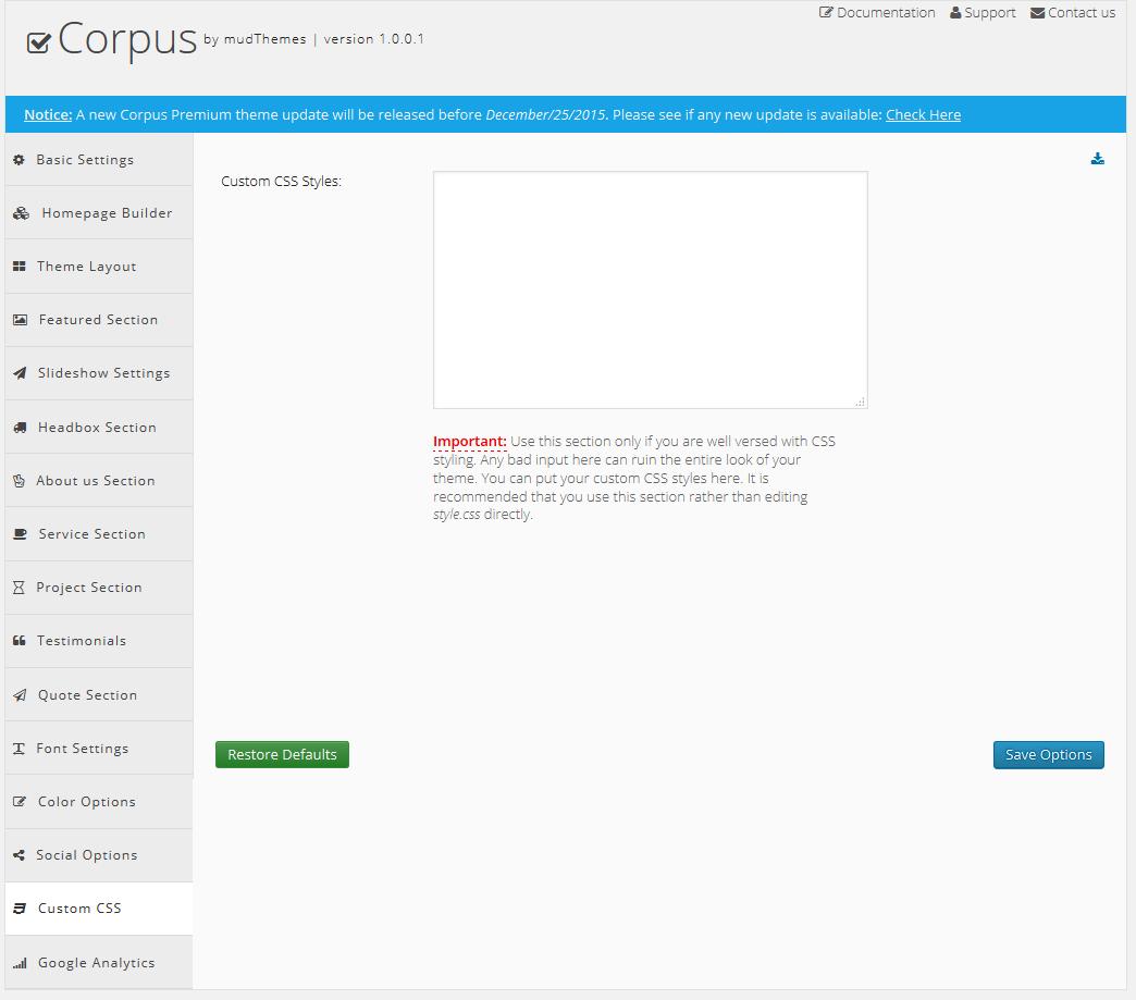 Corpus Theme Documentation - mudThemes Docs